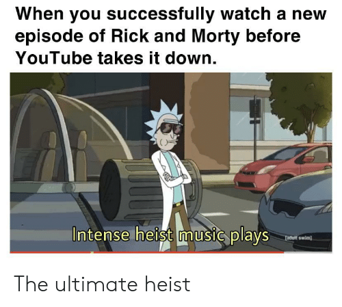 Rick and Morty: When you successfully watch a new  episode of Rick and Morty before  YouTube takes it down.  Intense heist music plays  fadult swim) The ultimate heist