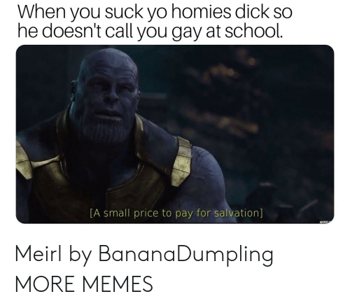 Dank, Memes, and School: When you suck yo homies dick so  he doesn't call you gay at school.  [A small price to pay for salvation] Meirl by BananaDumpling MORE MEMES