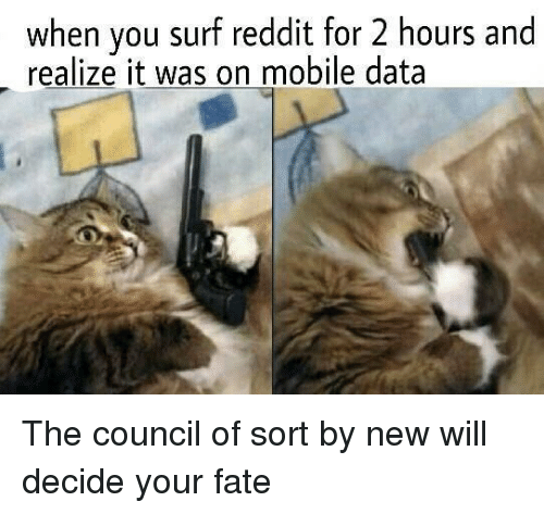 Reddit, Mobile, and Fate: when you surf reddit for 2 hours and  realize it was on mobile data The council of sort by new will decide your fate