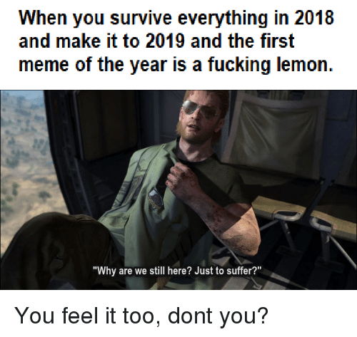 """Fucking, Meme, and Lemon: When you survive everything in 2018  and make it to 2019 and the first  meme of the year is a fucking lemon  """"Why are we still here? Just to suffer?"""" You feel it too, dont you?"""
