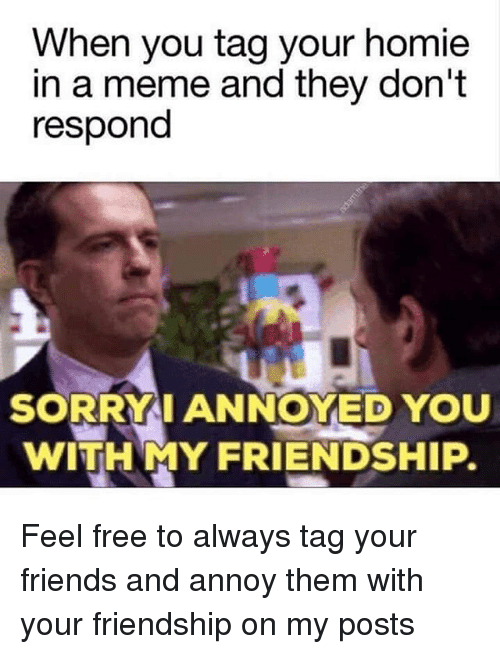 Funny, Annoyed, and Annoying: When you tag your homie  in a meme and they don't  respond  SORRY I ANNOYED YOU  WITH MY FRIENDSHIP. Feel free to always tag your friends and annoy them with your friendship on my posts