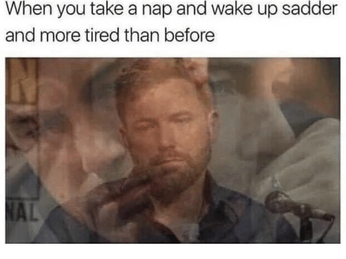 Wake, You, and Nap: When you take a nap and wake up sadder  and more tired than before  AL