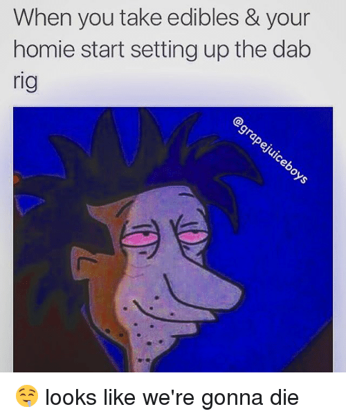 the dab: When you take edibles & your  homie start setting up the dab  rig 🤤 looks like we're gonna die