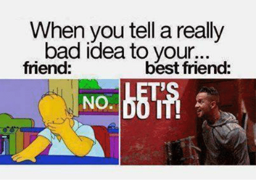 Bad, Best Friend, and Memes: When you tell a really  bad idea to your...  friend:  best friend: