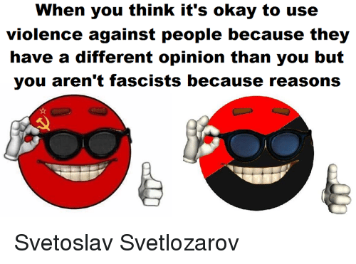 Because Reasons: When you think it's okay to use  violence against people because they  have a different opinion than you but  you aren't fascists because reasons Svetoslav Svetlozarov