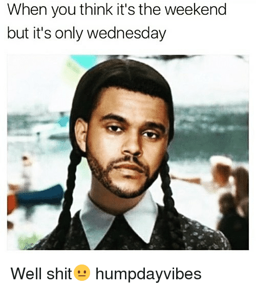 Funny, Shit, and The Weekend: When you think it's the weekend  but it's only wednesday Well shit😐 humpdayvibes