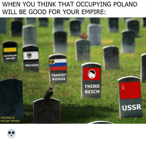 Empire, Memes, and Good: WHEN YOU THINK THAT OCCUPYING POLAND  WILL BE GOOD FOR YOUR EMPIRE:  AUSTRIAN  EMPIRE  PRUSSIA  TSARIST  RUSSIA  THIRD  REICH  USSR  POLEMICAL  POLISH MEMES 💀