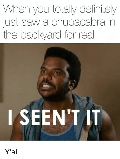 Seent It: When you totally definitely  just saw a chupacabra in  the backyard for real  I SEEN'T IT Y'all.