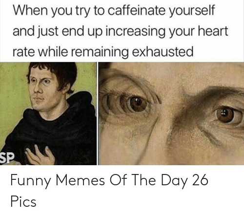 memes of the day: When you try to caffeinate yourself  and just end up increasing your heart  rate while remaining exhausted  SP Funny Memes Of The Day 26 Pics