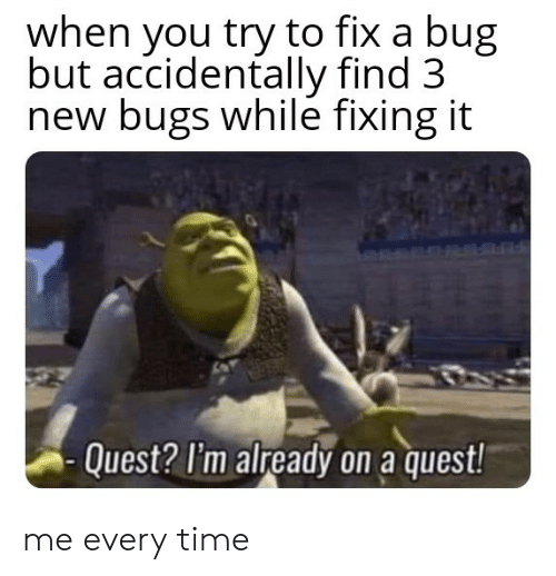 bugs: when you try to fix a bug  but accidentally find 3  new bugs while fixing it  Quest? I'm already on a quest! me every time
