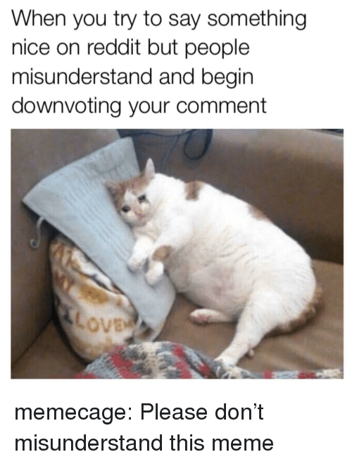 misunderstand: When you try to say something  nice on reddit but people  misunderstand and begin  downvoting your comment memecage:  Please don't misunderstand this meme
