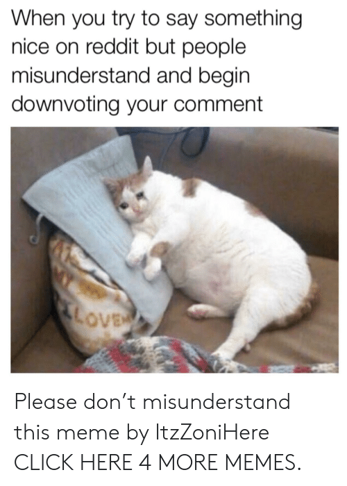Click, Dank, and Love: When you try to say something  nice on reddit but people  misunderstand and begin  downvoting your comment  LOVE Please don't misunderstand this meme by ItzZoniHere CLICK HERE 4 MORE MEMES.