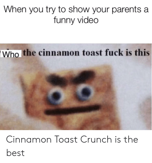 When You Try To Show Your Parents A Funny Video Who The Cinnamon Toast Fuck Is This Cinnamon Toast Crunch Is The Best Funny Meme On Conservative Memes