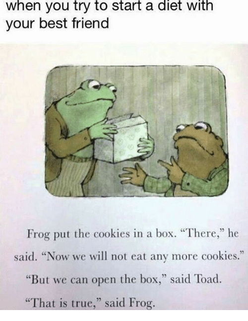 """Toade: When you try to start a diet with  your best friend  Frog put the cookies in a box. """"There,"""" he  said. """"Now we will not eat any more cookies.""""  """"But we can open the box  said Toad.  """"That is true,"""" said Frog."""