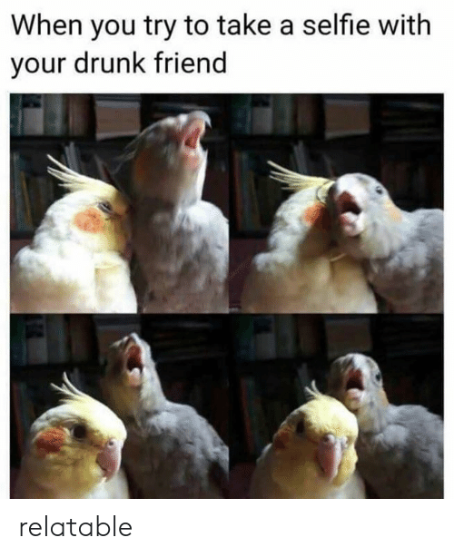 Drunk, Selfie, and Relatable: When you try to take a selfie with  your drunk friend relatable