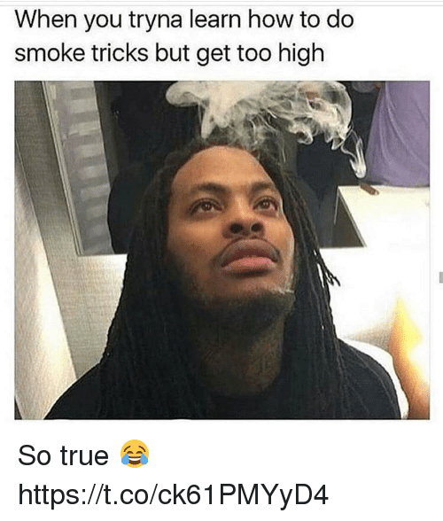 True, How To, and Too High: When you tryna learn how to do  smoke tricks but get too high So true 😂 https://t.co/ck61PMYyD4