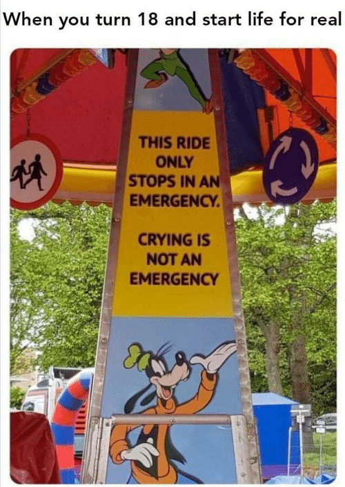 Crying, Life, and Emergency: When you turn 18 and start life for real  THIS RIDE  ONLY  STOPS IN AN  EMERGENCY  CRYING IS  NOT AN  EMERGENCY