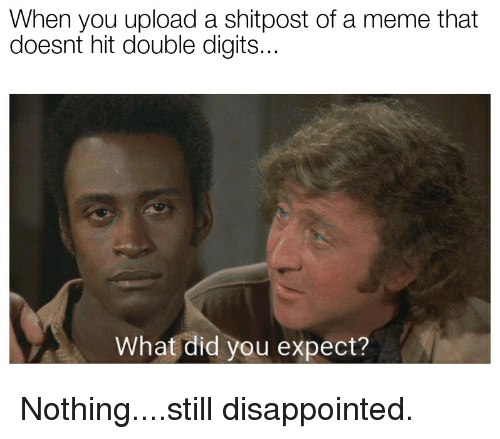Disappointed, Meme, and Reddit: When you upload a shitpost of a meme that  doesnt hit double digits...  What did you expect?