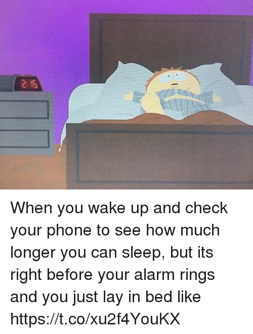 Phone, Alarm, and Girl Memes: When you wake up and check your phone to see how much longer you can sleep, but its right before your alarm rings and you just lay in bed like https://t.co/xu2f4YouKX