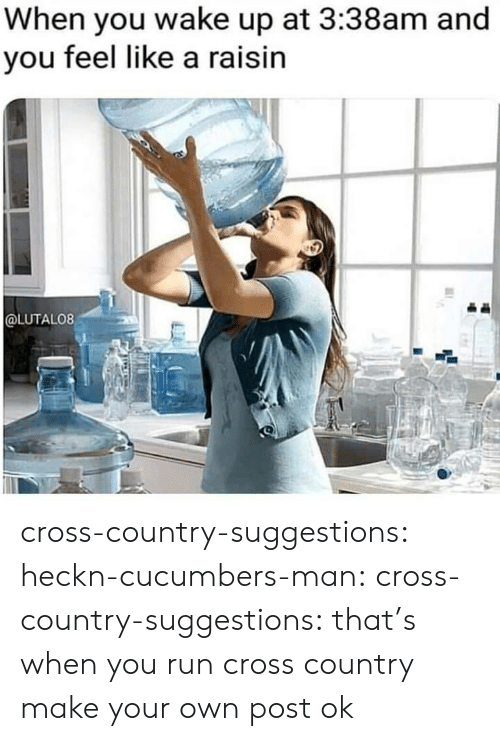 Run, Target, and Tumblr: When you wake up at 3:38am and  you feel like a raisin  @LUTALO8 cross-country-suggestions:  heckn-cucumbers-man:   cross-country-suggestions:  that's when you run cross country  make your own post   ok