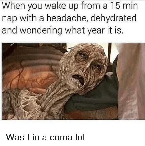 Lol, Memes, and 🤖: When you wake up from a 15 min  nap with a headache, dehydrated  and wondering what year it is. Was I in a coma lol