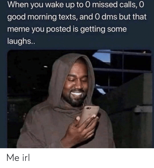 Meme, Good Morning, and Good: When you wake up to 0 missed calls, O  good morning texts, and 0 dms but that  meme you posted is getting some  laughs.. Me irl
