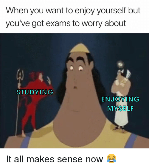 Got, All, and You: When you want to enjoy yourself but  you've got exams to worry about  STUDYING  ENJOYING  MYSELF It all makes sense now 😂