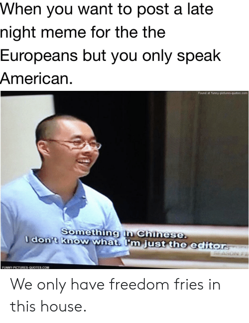 Funny, Meme, and American: When you want to post a late  night meme for the the  Europeans but you only speak  American  Found at funny-pictures-quotes.com  Somethingn Chinese.  don't know what. I'm just the editor  FUNNY-PICTURES-QUOTES.COM We only have freedom fries in this house.