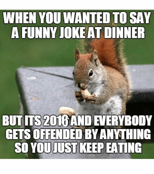 Funny Jokee: WHEN YOU WANTED TO SAY  A FUNNY JOKE AT DINNER  BUT ms 2016AND  GETS OFFENDED BYANTHING  SO YOU JUST KEEP EATING