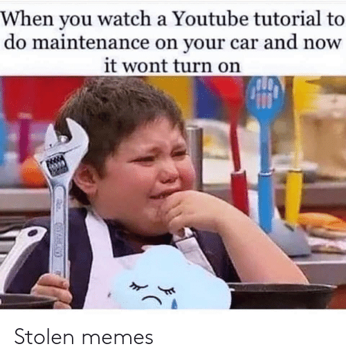 Wont: When you watch a Youtube tutorial to  do maintenance on your car and now  it wont turn on Stolen memes