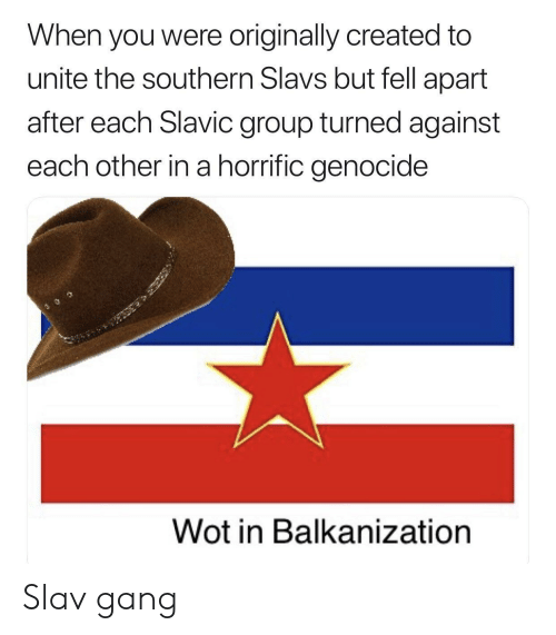 Gang, History, and Slav: When you were originally created to  unite the southern Slavs but fell apart  after each Slavic group turned against  each other in a horrific genocide  Wot in Balkanization Slav gang