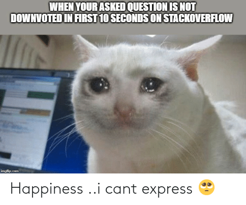 Happiness: WHEN YOUR ASKED QUESTION IS NOT  DOWNVOTED IN FIRST 10 SECONDS ON STACKOVERFLOW  imgfilip.com Happiness ..i cant express 🥺