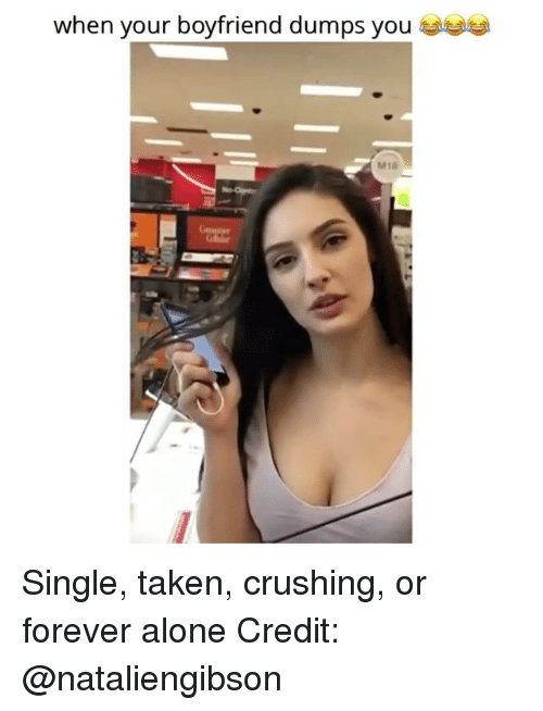 Being Alone, Memes, and Taken: when your boyfriend dumps you  M18 Single, taken, crushing, or forever alone Credit: @nataliengibson