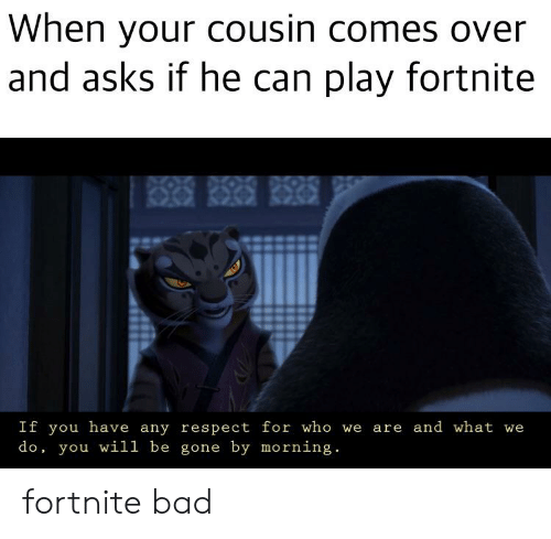 Bad, Respect, and Dank Memes: When your cousin comes over  and asks if he can play fortnite  RSP RISRIS RISRIS  If you have any respect for who we  do, you wil1 be gone by morning.  are and what we fortnite bad