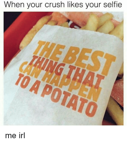 Crush, Selfie, and Potato: When your crush likes your selfie  THE  TO A POTATO me irl