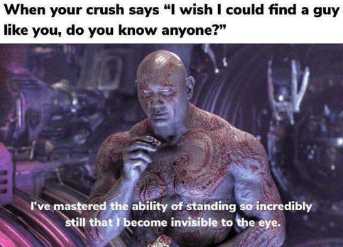 "Crush, Ability, and Eye: When your crush says ""I wish I could find a guy  like you, do you know anyone?""  779  I've mastered the ability of standing so incredibly  ill that I become invisible to the eye."
