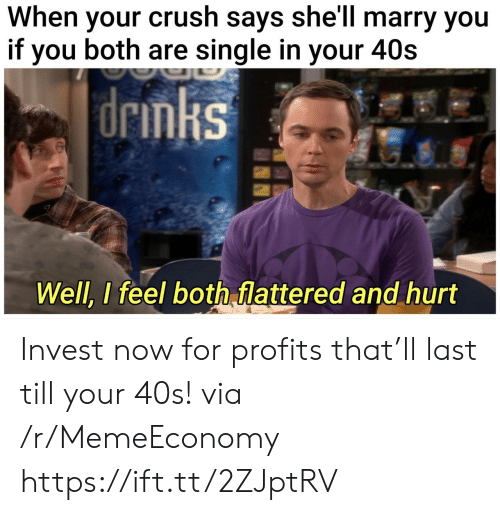 When Your Crush: When your crush says she'll marry you  if you both are single in your 40s  |drmks  Well, I feel both flattered and hurt Invest now for profits that'll last till your 40s! via /r/MemeEconomy https://ift.tt/2ZJptRV
