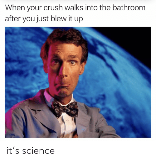 When Your Crush: When your crush walks into the bathroom  after you just blew it up it's science
