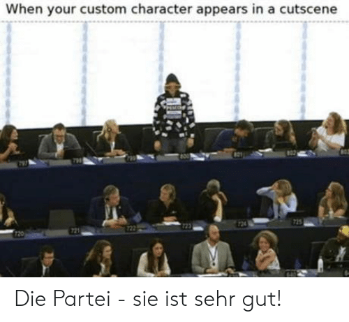 Character, Custom, and  Die: When your custom character appears in a cutscene  24  725  722  721  T20 Die Partei - sie ist sehr gut!