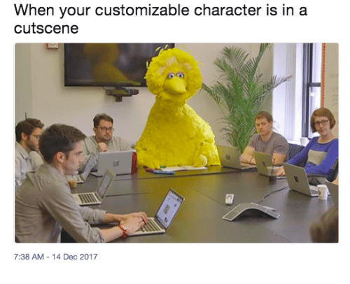 Character, Dec, and When: When your customizable character is in a  cutscene  7:38 AM -14 Dec 2017