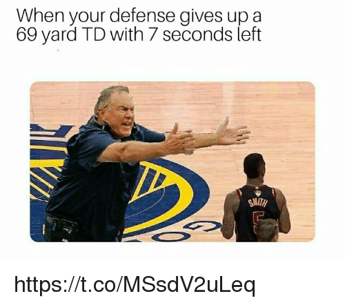 Memes, 🤖, and Yard: When your defense gives up a  69 yard TD with 7 seconds left https://t.co/MSsdV2uLeq
