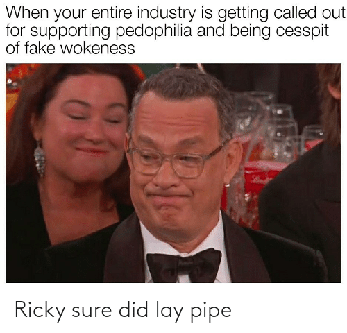 Getting: When your entire industry is getting called out  for supporting pedophilia and being cesspit  of fake wokeness Ricky sure did lay pipe