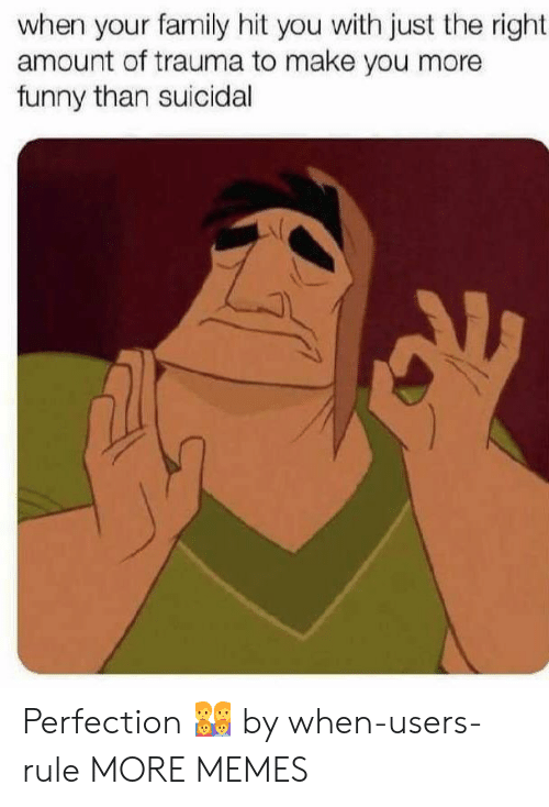 Dank, Family, and Funny: when your family hit you with just the right  amount of trauma to make you more  funny than suicidal Perfection 👨👩👧👦 by when-users-rule MORE MEMES