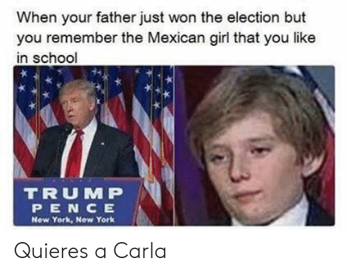 New York, School, and Girl: When your father just won the election but  you remember the Mexican girl that you like  in school  TRUM P  PEN CE  New York, New York Quieres a Carla