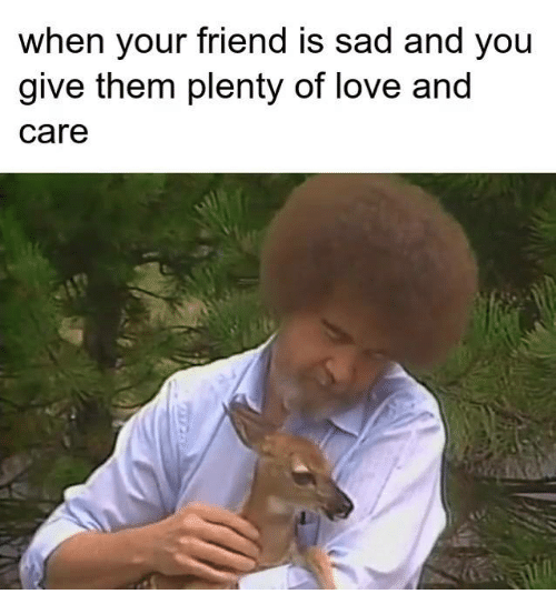 Love, Sad, and Friend: when your friend is sad and you  give them plenty of love and  care