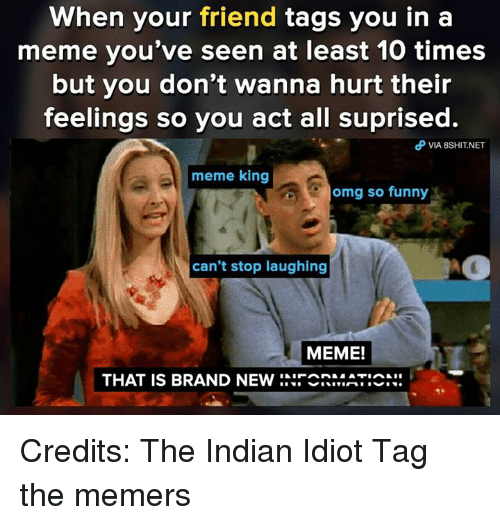 Funny, Meme, and Memes: When your friend tags you in a  meme you've seen at least 10 times  but you don't wanna hurt their  feelings so you act all suprised.  θ VlA 8SHIT.NET  meme king  omg so funny  can't stop laughing  MEME!  THAT IS BRAND NEw :..︶  ATIA… Credits: The Indian Idiot Tag the memers