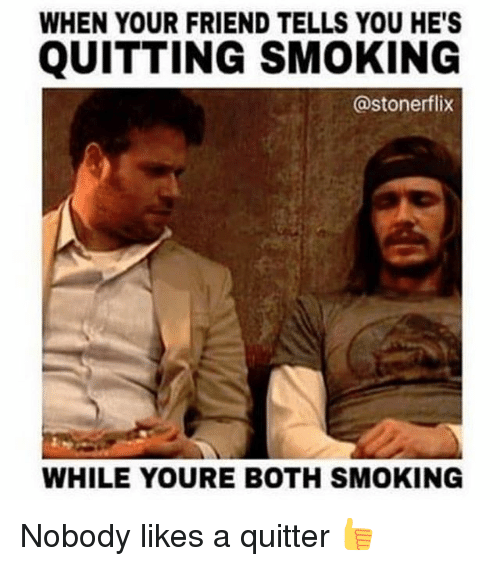 Quitting Smoking: WHEN YOUR FRIEND TELLS YOU HE'S  QUITTING SMOKING  @stoner flix  WHILE YOURE BOTH SMOKING Nobody likes a quitter 👍