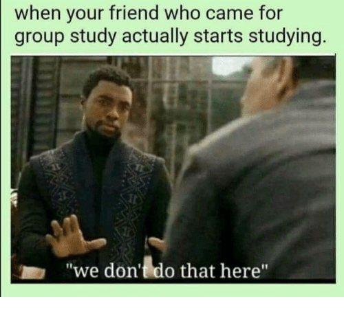 """Who, Friend, and Group: when your friend who came for  group study actually starts studying.  """"we don't do that here"""""""