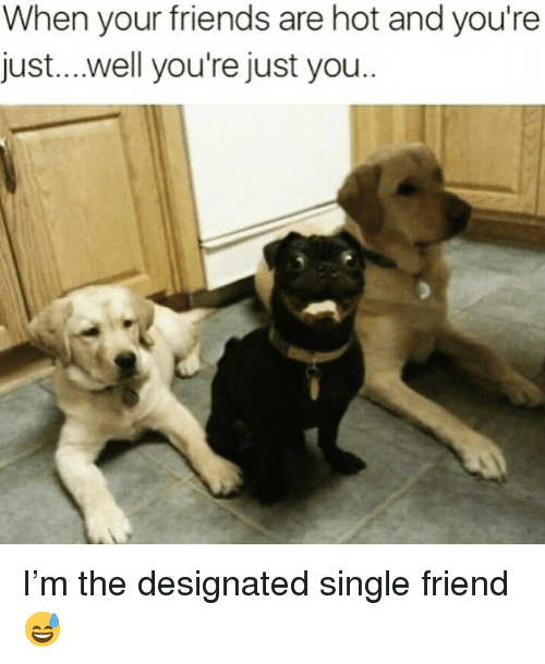 Friends, Funny, and Single: When your friends are hot and you're  just...well you're just you I'm the designated single friend😅
