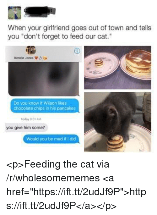 "Chocolate, Today, and Girlfriend: When your girlfriend goes out of town and tells  you ""don't forget to feed our cat.""  Kenzie Jones  Do you know if Wilson likes  chocolate chips in his pancakes  Today 901 AM  you give him some?  Would you be mad if I did <p>Feeding the cat via /r/wholesomememes <a href=""https://ift.tt/2udJf9P"">https://ift.tt/2udJf9P</a></p>"